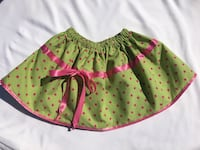 Unique hand maid green skirt with pink poco dots and pink details  Skokie, 60077