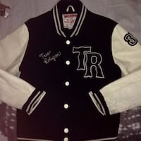 black and white button-up letterman jacket