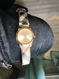 Round gold Burberry analog watch with grey leather band San Francisco, 94114