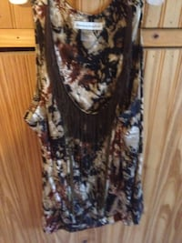 women's gray, blue and brown sleeveless dress
