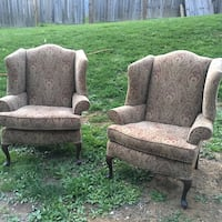 Two brown wooden framed gray padded armchairs Mount Airy, 21771