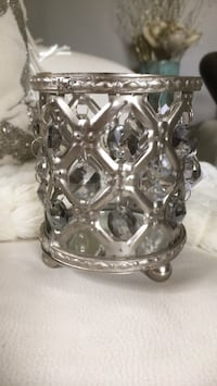 Nickel candle votive with hanging crystals
