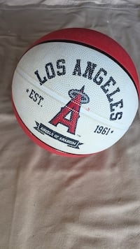white and red Los Angeles basketball