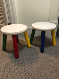 two white and brown wooden side tables Boston, 02215