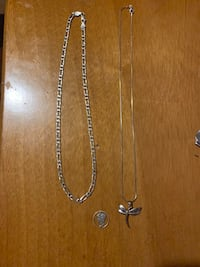 Sterling silver necklaces with dragonfly and mercury dime pendant  Ocean Springs, 39564