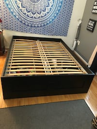 Black wooden bed frame with 4 underneath drawers Fairfax, 22030