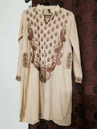 white and brown floral long-sleeved dress Hollywood, 33024