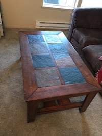 brown wooden framed glass top coffee table Saint Helens, 97051