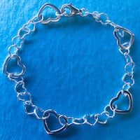 Brand New Sterling Silver 925 Heart Bracelet 7 1/2 inches  San Antonio, 78240