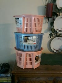 3small round stackable storage baskets, $3 for all Colton
