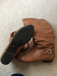 Pair of brown leather wide-calf biker boots