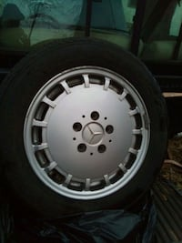 2 Mercedes Benz aluminum 15 inch rims /tires. 185/65/15  with 90% tred