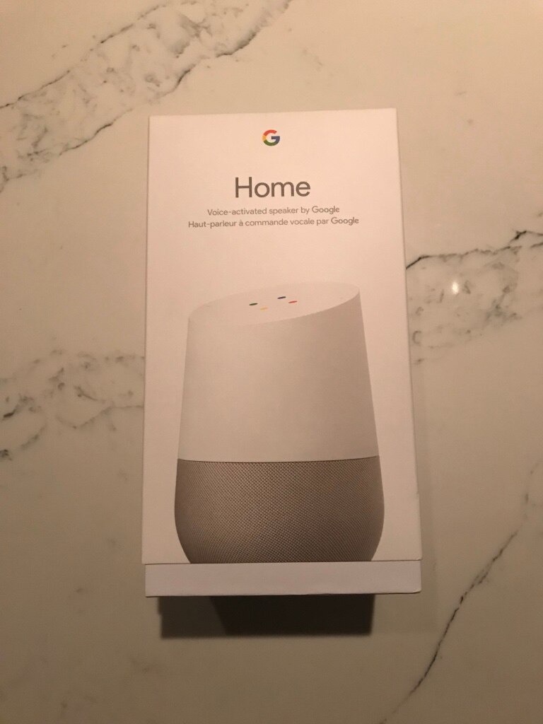 white Google Home voice-activated speaker box for sale  Toronto