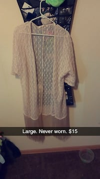 large women's white lace cardigan