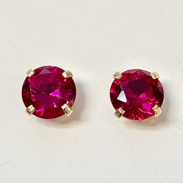 Genuine 14k Yellow Gold Ruby Stud Earrings 5b8de110-932d-42cc-a050-eb00b57bada3