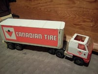 red and white Canadian Tire freight truck scale model Sainte-Julienne, J0K 2T0