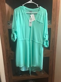 women's teal long-sleeved dress Oxford, 30054