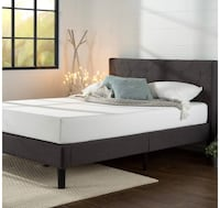 Full Size Upholstered Diamond Stitched Platform Bed with matress