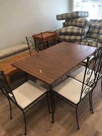rectangular brown wooden table with four chairs dining set Los Angeles, 91406