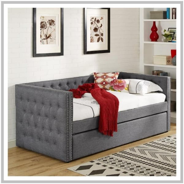 Gray Day Bed with Trundle