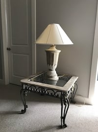 3 pieces glass and wrought iron coffee table and end tables