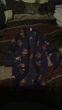 Navy blue w/Floral cover up