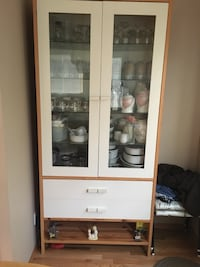 white and brown wooden display cabinet Calgary, T1Y 7E9