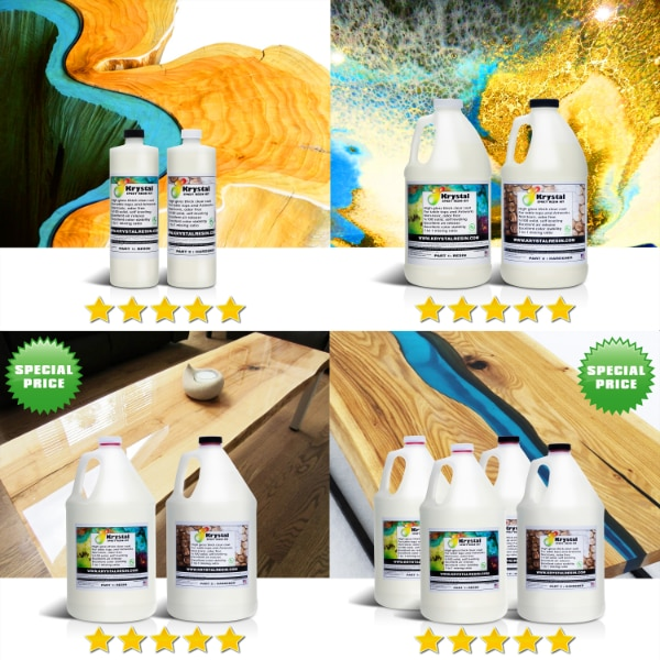 CLEAR EPOXY RESIN KIT FOR TABLETOPS AND ARTWORKS