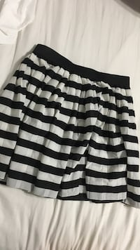 black and white stripe mini skirt