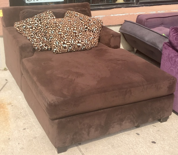 Brown Microfiber Chaise By Lloyd S Of Chatham