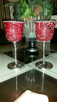 2 silver and red wine candle holders El Centro, 92243