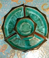 Retro original Blue Mountain Pottery Appetizer with tray made in Canad