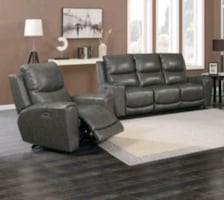 Leather power reclining sofa + chair