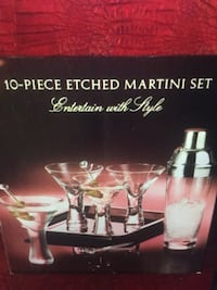 10 PIECES ETCHED MARTINI SET- (NEW/UNUSED) Jersey City, 07305