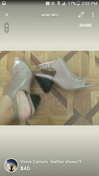 pair of gray leather heeled shoes New York, 10018