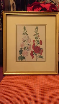 white and pink flower painting with brown wooden frame Gaithersburg, 20879