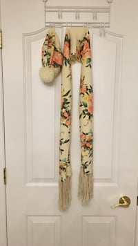 Women's white, orange, and black floral printed scarf