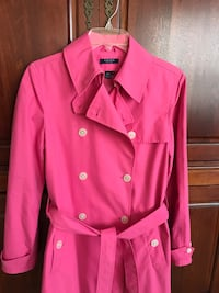 Pink double-breasted, belted trench,, chaps brand sz s, adorable ! North Charleston, 29485
