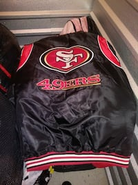 black, red, and white San Francisco 49ers letterma