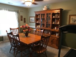Dining Room Set - Farm Style Solid Wood Table and Chair-Free Hutch Top