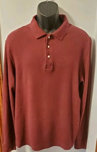 LANDS'END Maroon Red Long Sleeved Collared Shirt Middletown, 21769