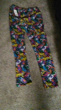 blue green and yellow floral pants