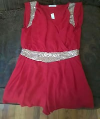 Layered red sheer & silver sequins romper size med Mobile