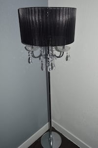 gray stainless steel based floor lamp with round black lampshade Los Angeles, 90029
