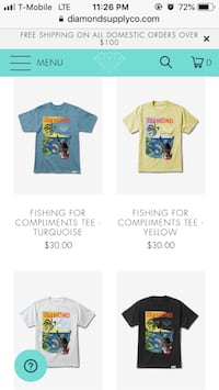 Diamond Supply Co Fishing for Compliments Tee Sz L 100% Sz Med & Small Paramount, 90723