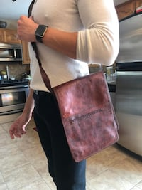 Hand Made (Crafted) Leather saddle (cross body) bag Auburn