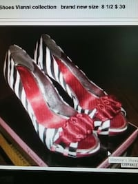 Black white and red zebra print open toe heeled sa