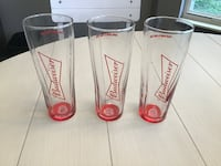 Three Like New Budweiser Beer Glasses