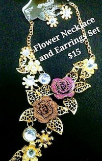 Flower necklace AND earrings set 15 Edmonton, T5K 1P8