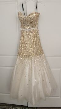 Women's gold and white sequined sweetheart sleeveless dress size 8